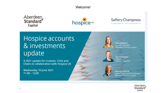 Hospice accounts and investments update