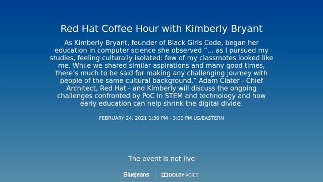 Red Hat Coffee Hour with Kimberly Bryant