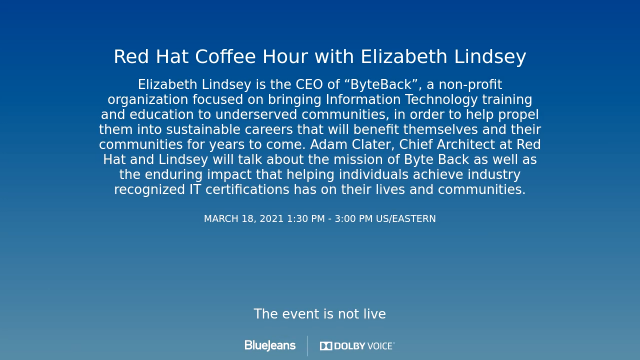 Red Hat Coffee Hour with Elizabeth Lindsey