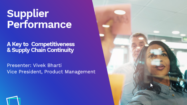 Supplier Performance - The Key to Competitiveness & Supply Chain Continuity