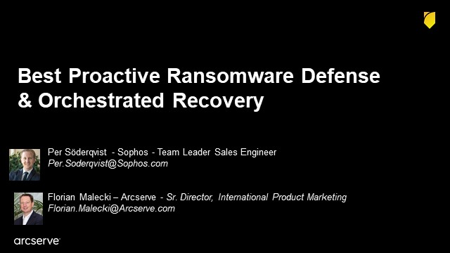 Best Proactive Ransomware Defense and Orchestrated Recovery