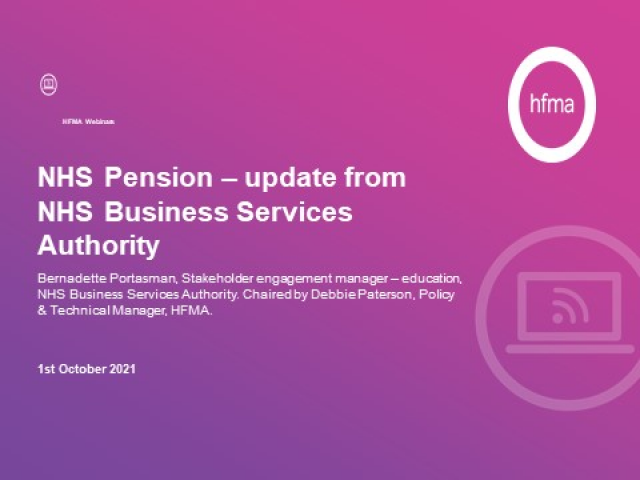NHS Pension – update from NHS Business Services Authority