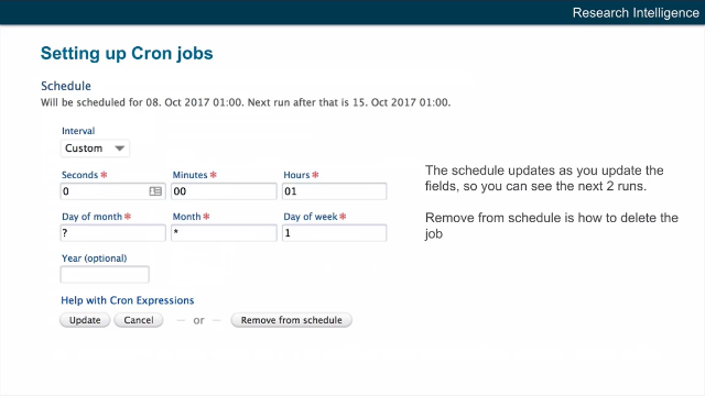 Custom Scheduling of Jobs (Cron expression)