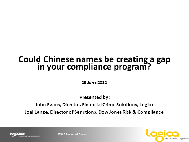 Are Chinese names creating a gap in your compliance program?
