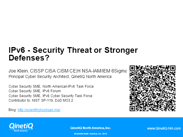 IPv6 - Security Threat or  Stronger Defenses?
