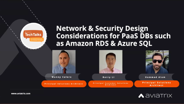 Network and security designs considerations for PaaS db such as RDS and SQL