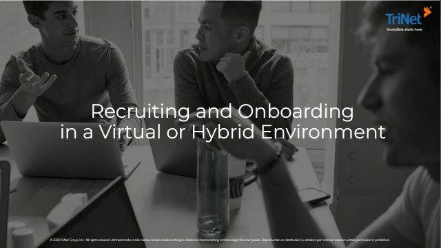 Recruiting & Onboarding in a Virtual or Hybrid Environment