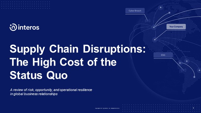 Supply Chain Disruptions: The High Cost of the Status Quo