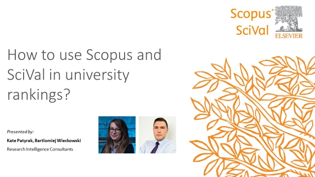 How to use Scopus and SciVal in university rankings?