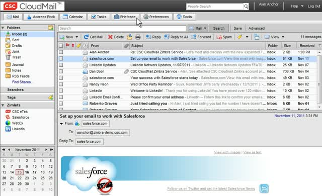 Mail on the Cloud! CSC CloudMail for VMware Zimbra Demonstration