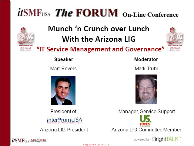 itSMF USA Arizona IG: IT Service Management and Governance