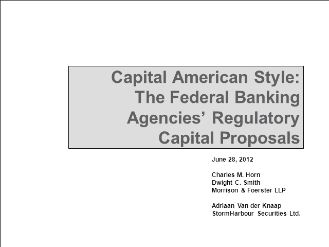 Basel III American style: US regulatory capital framework changes