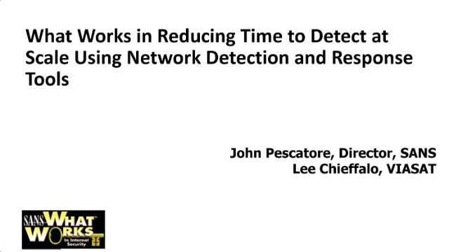Reduce Time to Detect at Scale Using Network Detection and Response Tools