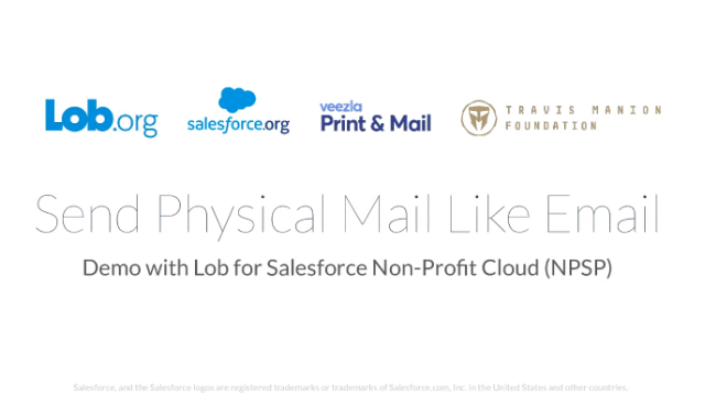 Send Physical Mail like Email: Lob for Salesforce Non-Profit Cloud (NPSP)