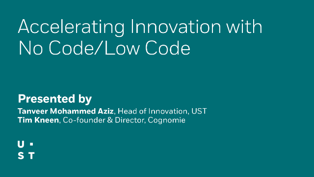 Accelerating Innovation with No Code/Low Code