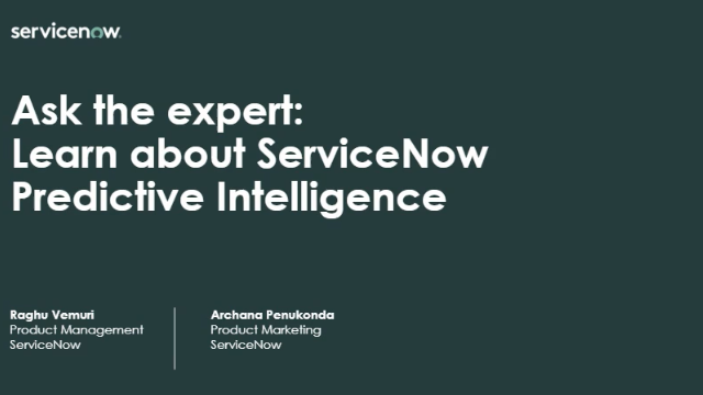 Ask the Expert: Predictive Intelligence