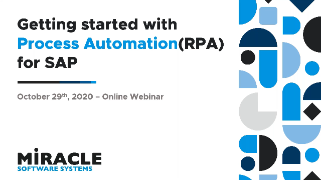 Getting started with Process Automation(RPA) for SAP