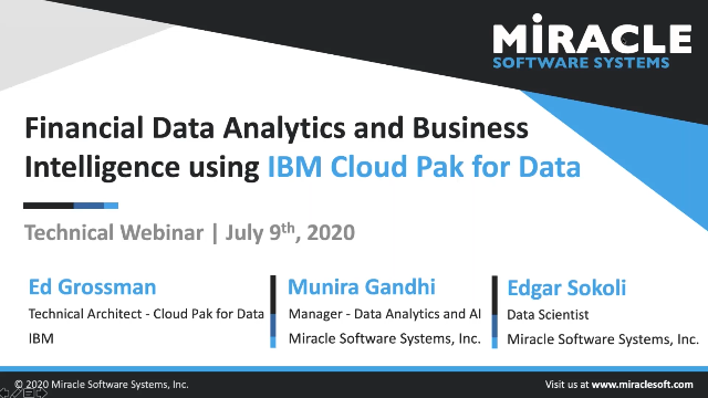 Financial Data Analytics and Business Intelligence using IBM Cloud Pak for Data