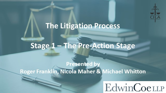 The Litigation Process - Stage 1, presented by Edwin Coe
