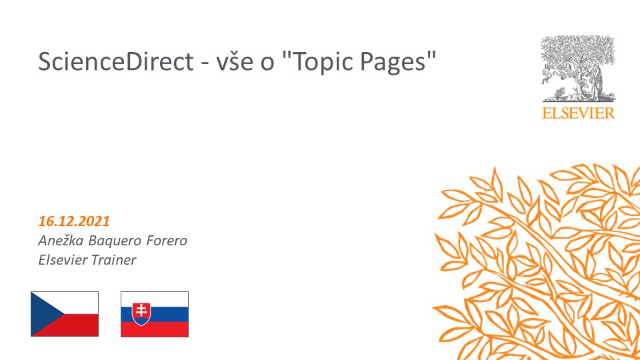 """ScienceDirect - vše o """"Topic Pages"""""""