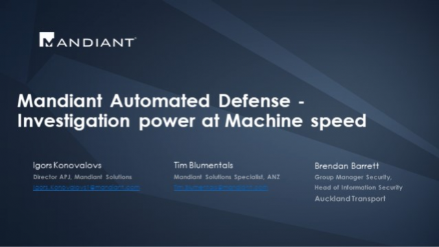 Mandiant Automated Defense - Investigation power at Machine speed