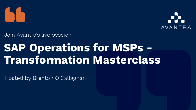 SAP Operations for MSPs - Transformation Masterclass