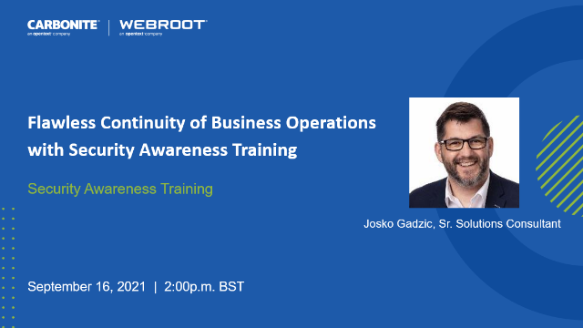 Flawless Continuity of Business Operations with Security Awareness Training