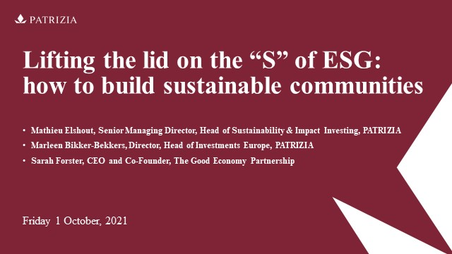 """Lifting the lid on the """"S"""" of ESG: how to build sustainable communities"""