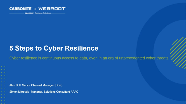 Part 1: 5 Steps to Cyber Resilience - It begins with Backup