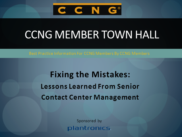 Fixing the Mistakes, a CCNG Member Town Hall