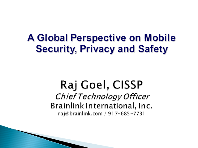 A Global Perspective on Mobile Security, Privacy and Safety
