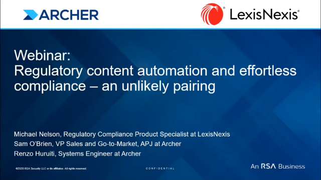 Regulatory content automation and effortless compliance - an unlikely pairing