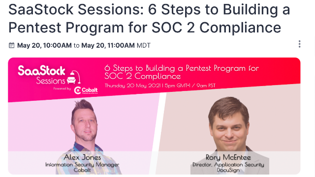 SaaStock Sessions: 6 Steps to Building a Pentest Program for SOC 2 Compliance