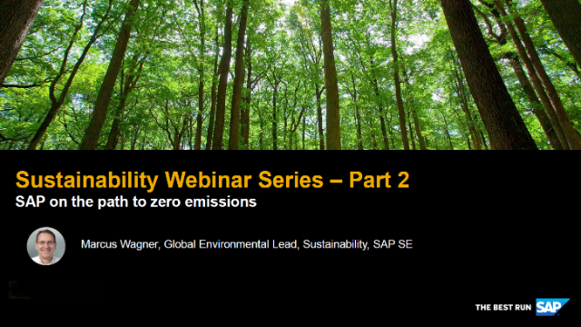 Sustainability Webinar Series: Part 2 - SAP on the path to zero emissions