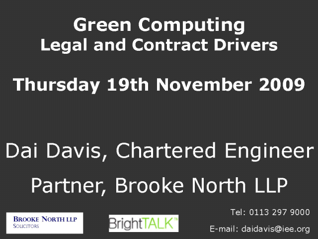 Green Computing (legal & contract drivers)