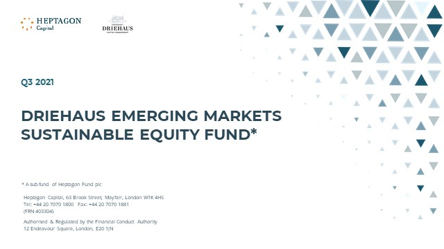 Driehaus Emerging Markets Sustainable Equity Fund Q3 2021 Webcast