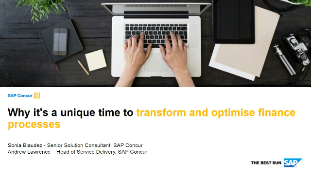 Why it's a unique time to transform and optimise finance processes
