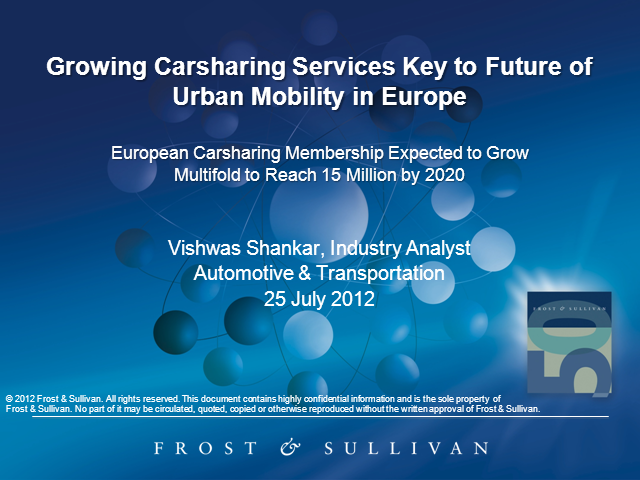 Growing Carsharing Services Key to Future of Urban Mobility in Europe