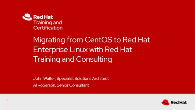 Migrating from CentOS to RHEL with Red Hat Training and Red Hat Consulting