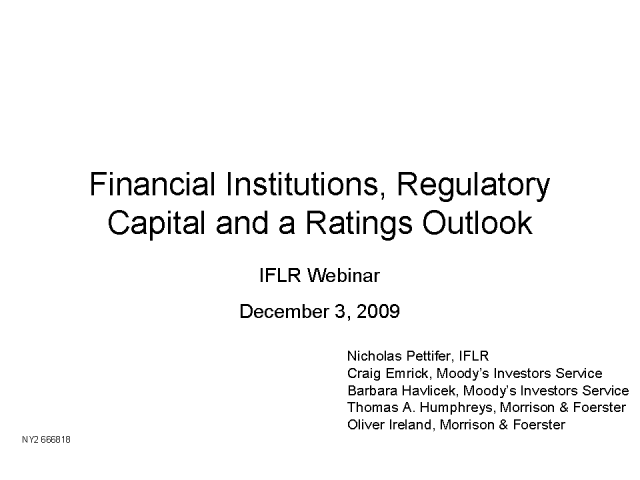 US financial institutions: regulatory capital, hybrids, ratings