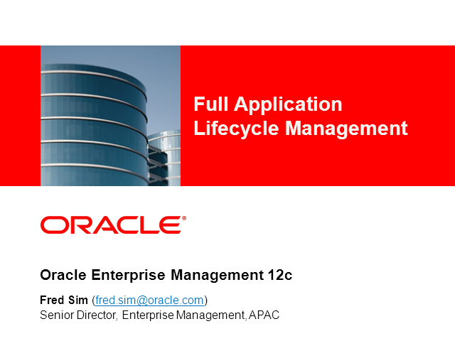 Manage your Applications with a Lifecycle Approach
