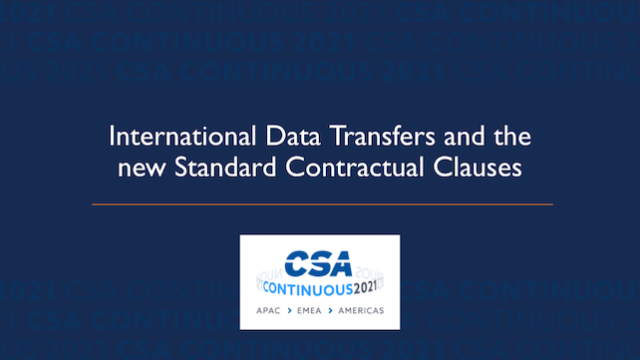 International Data Transfers and the new Standard Contractual Clauses