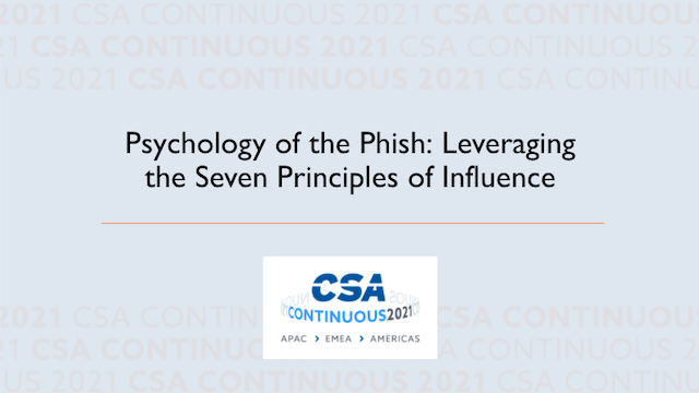 Psychology of the Phish: Leveraging the Seven Principles of Influence