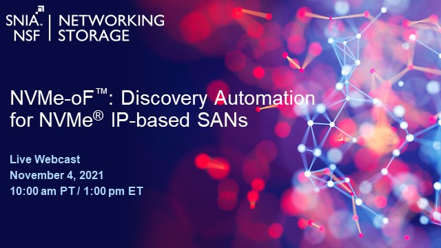 NVMe-oF: Discovery Automation for NVMe IP-based SANs