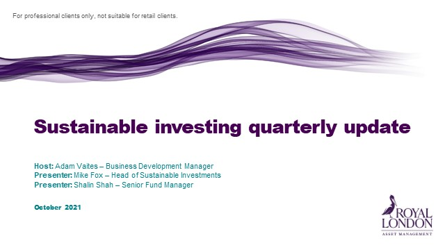 Sustainable investing quarterly update