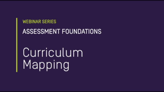 Assessment Foundations: Curriculum Mapping