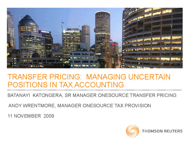 Transfer Pricing: Managing uncertain positions in Tax Accounting