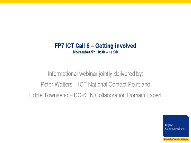 FP7 Call 6 – Submitting a Proposal