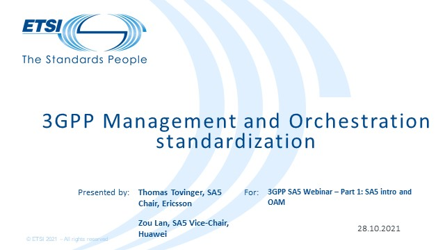 Welcome to the exciting world of Management and Charging Standardization, Part 1