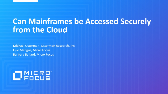 Can Mainframes be Accessed Securely from the Cloud